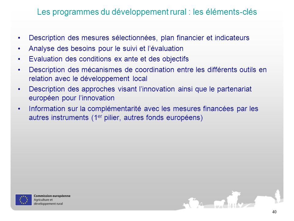 Les programmes du développement rural : les éléments-clés