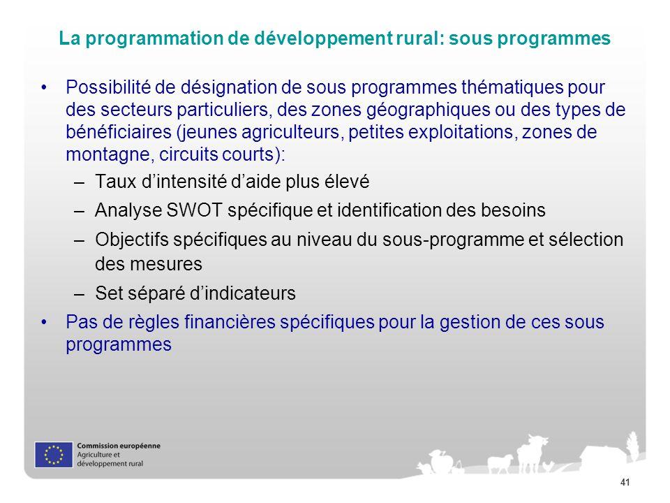 La programmation de développement rural: sous programmes