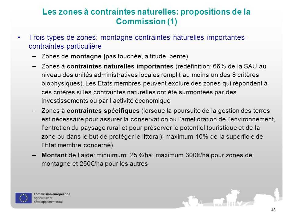 Les zones à contraintes naturelles: propositions de la Commission (1)