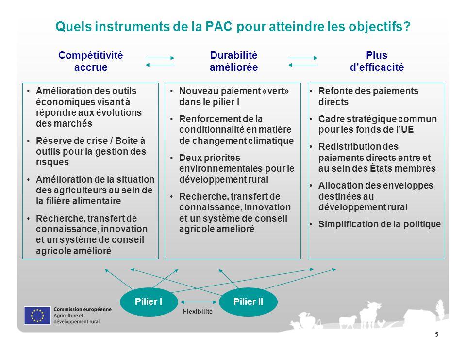 Quels instruments de la PAC pour atteindre les objectifs