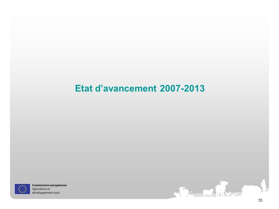 Etat d'avancement 2007-2013