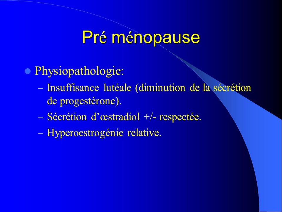 Pré ménopause Physiopathologie: