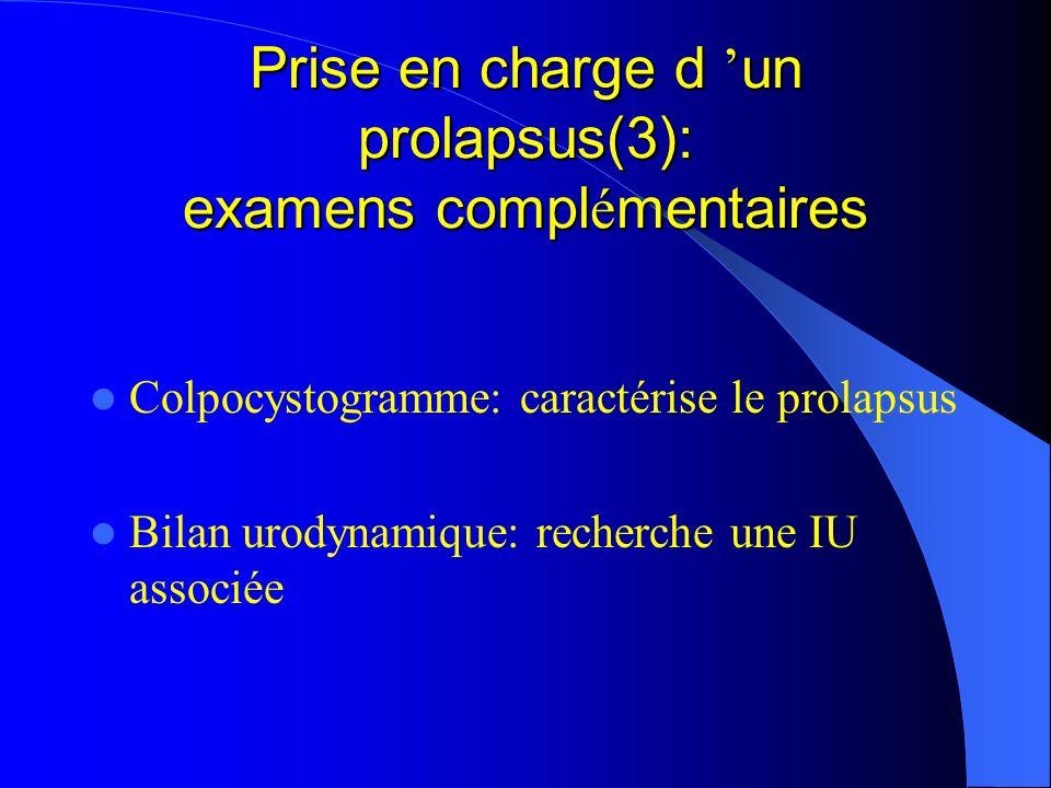 Prise en charge d 'un prolapsus(3): examens complémentaires