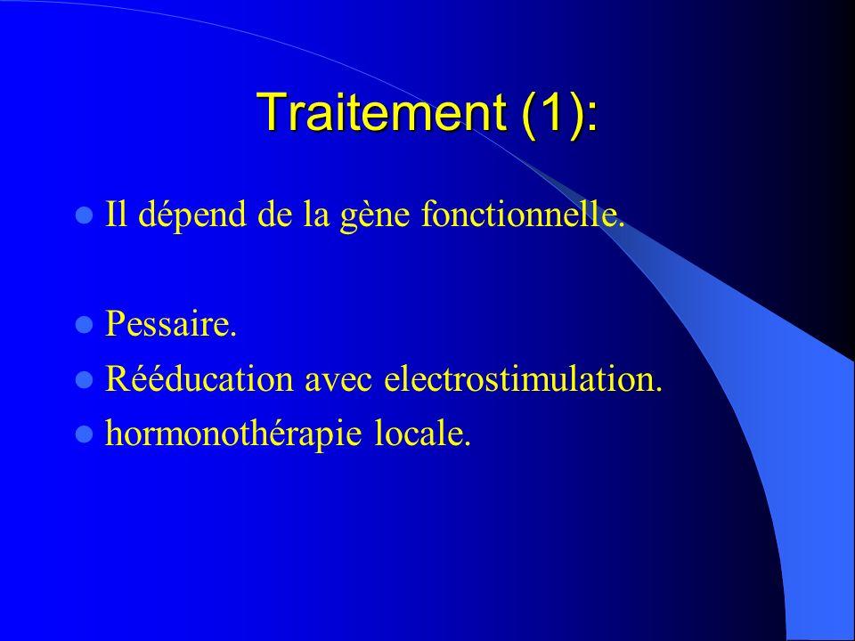 Traitement (1): Il dépend de la gène fonctionnelle. Pessaire.