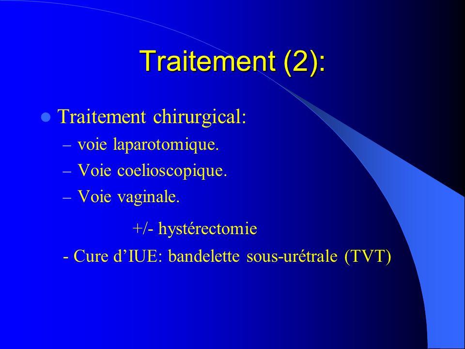 Traitement (2): +/- hystérectomie Traitement chirurgical: