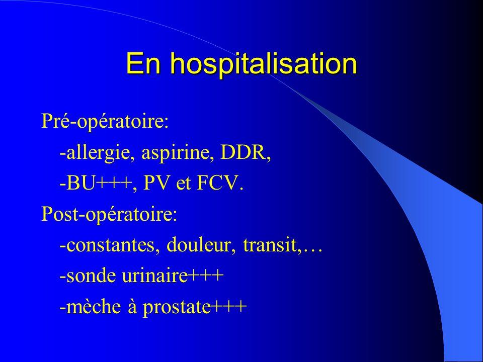 En hospitalisation Pré-opératoire: -allergie, aspirine, DDR,
