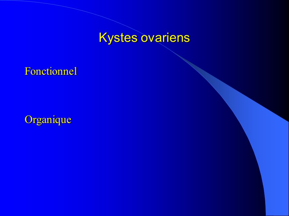 Kystes ovariens Fonctionnel Organique