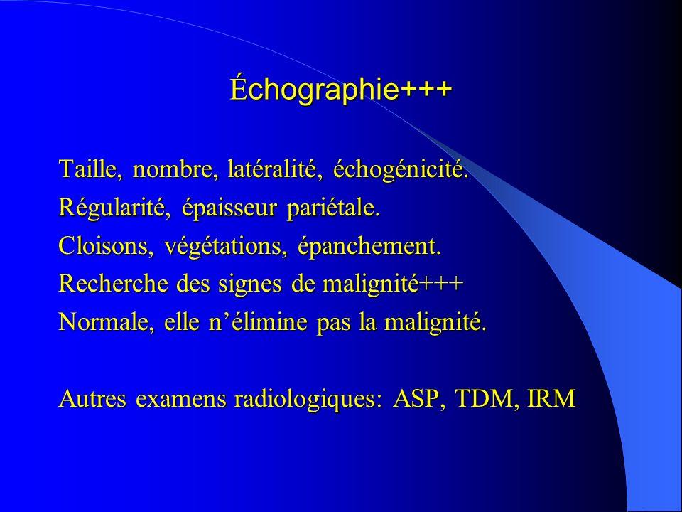 Échographie+++ Taille, nombre, latéralité, échogénicité.