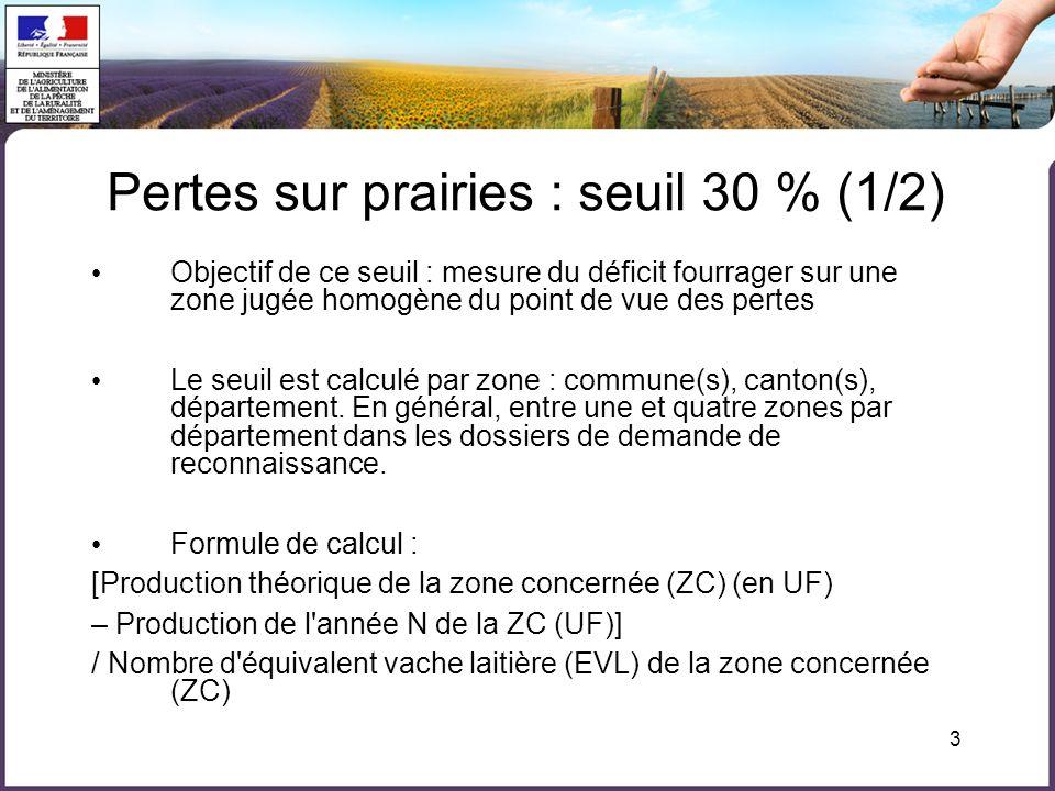 Pertes sur prairies : seuil 30 % (1/2)