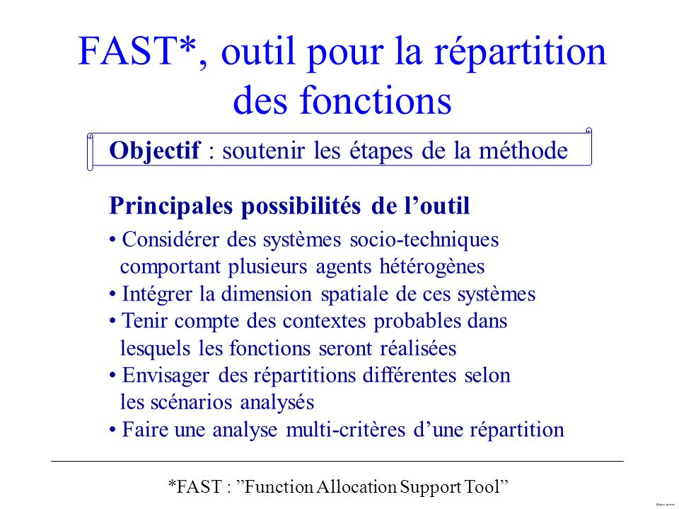 FAST*, outil pour la répartition des fonctions