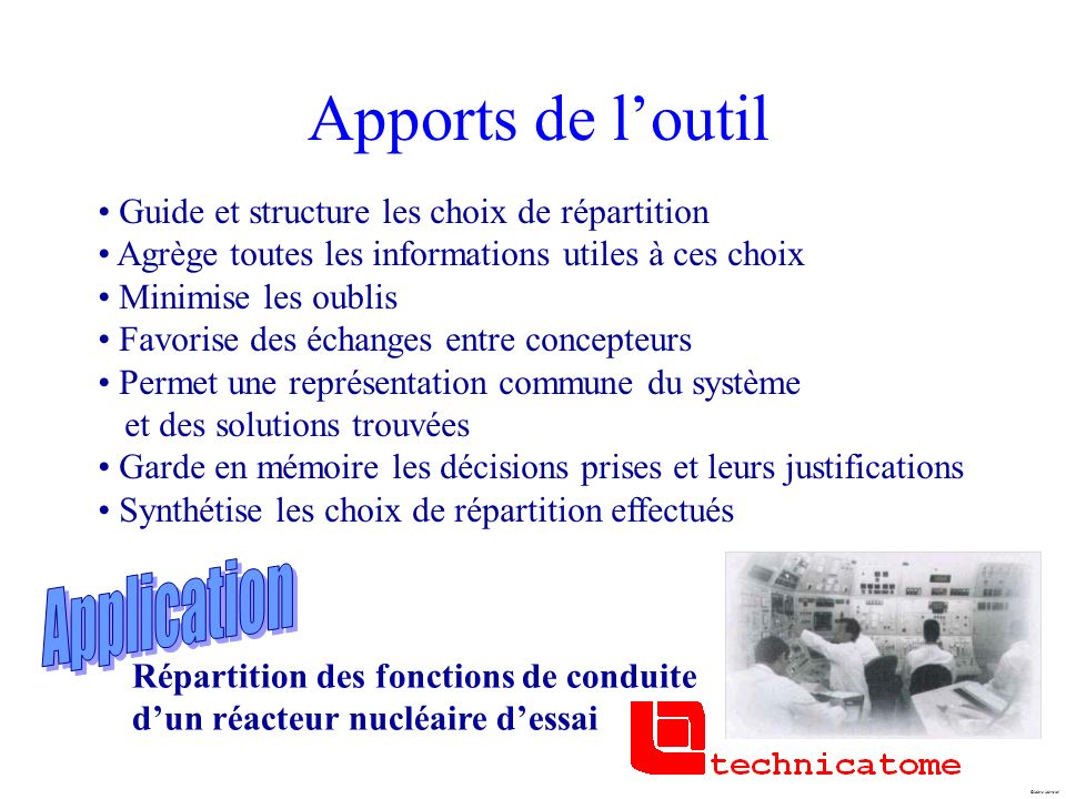 Apports de l'outil Application