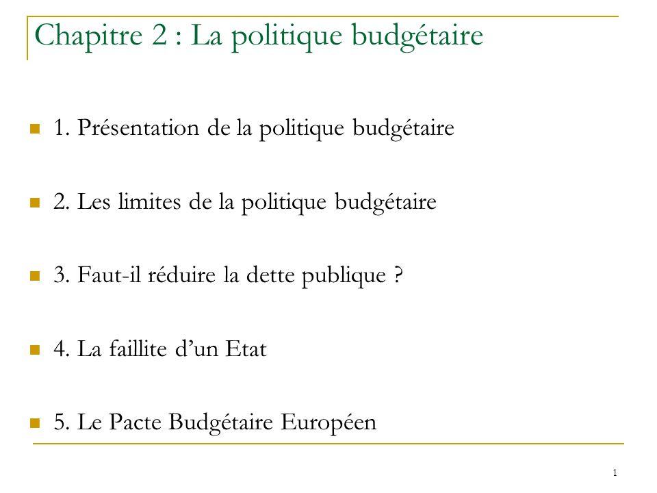 Chapitre 2 : La politique budgétaire
