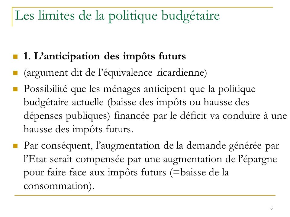 Les limites de la politique budgétaire