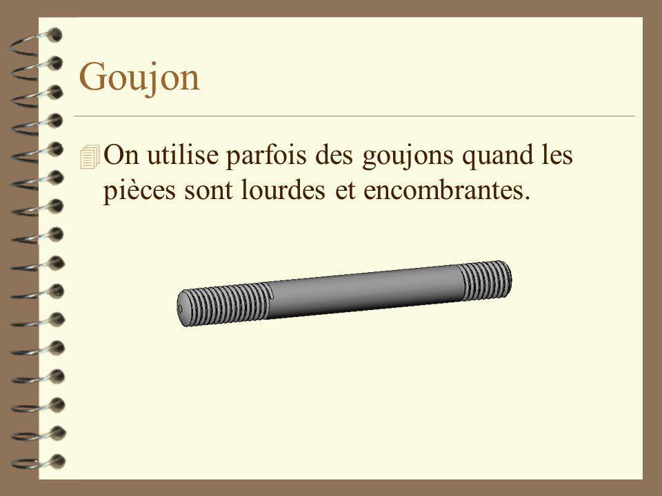 Goujon On utilise parfois des goujons quand les pièces sont lourdes et encombrantes.
