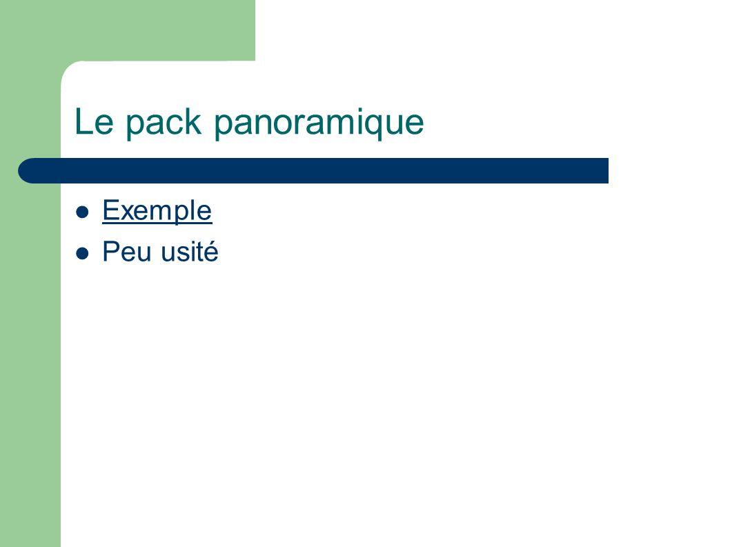 Le pack panoramique Exemple Peu usité