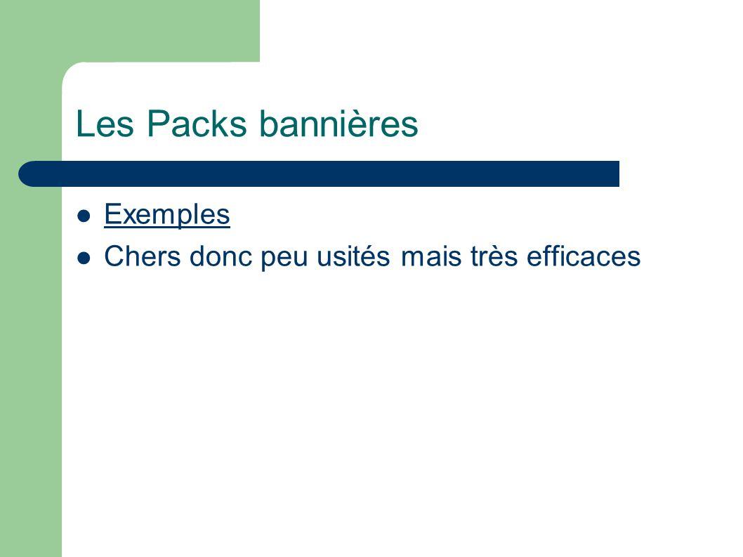 Les Packs bannières Exemples Chers donc peu usités mais très efficaces