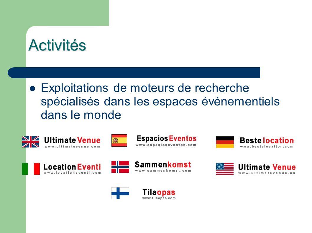 Activités Exploitations de moteurs de recherche spécialisés dans les espaces événementiels dans le monde.