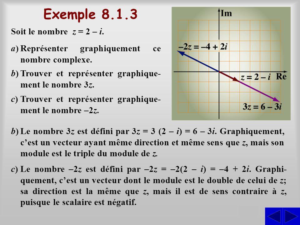 Exemple 8.1.3 S Soit le nombre z = 2 – i.
