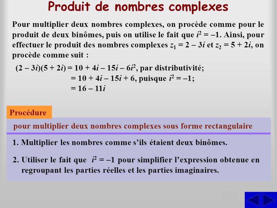 Produit de nombres complexes