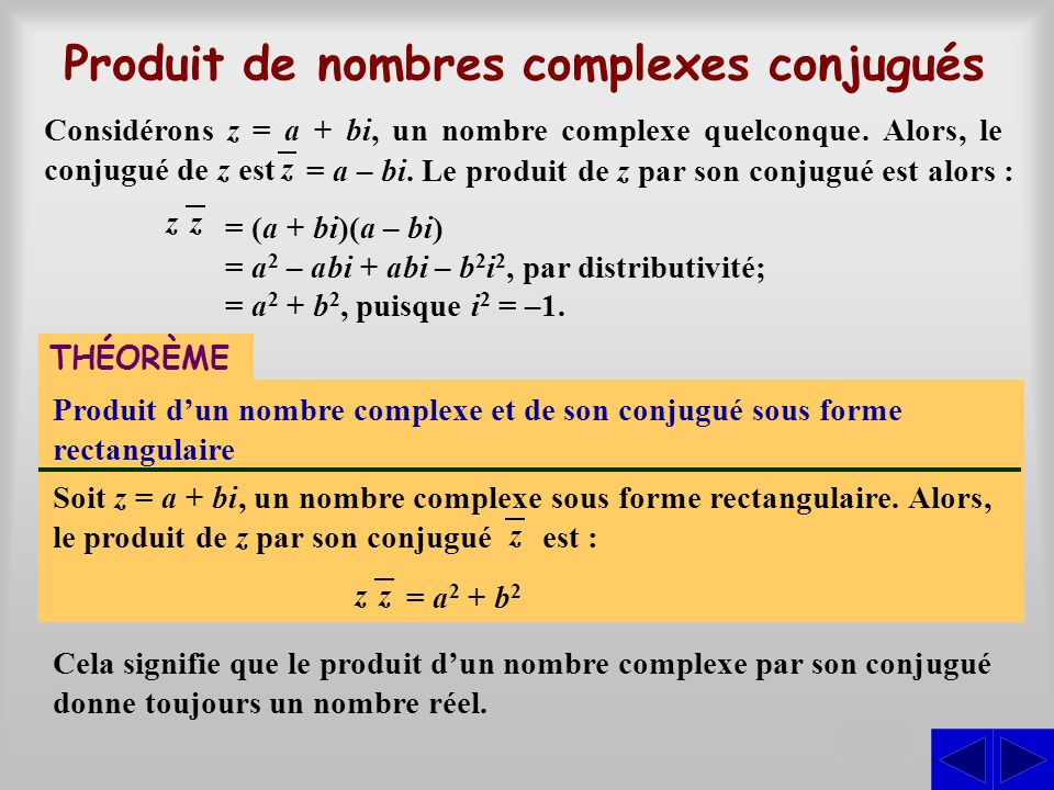 Produit de nombres complexes conjugués