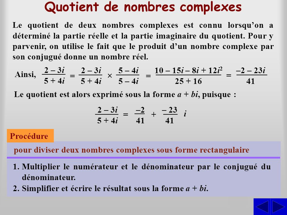 Quotient de nombres complexes