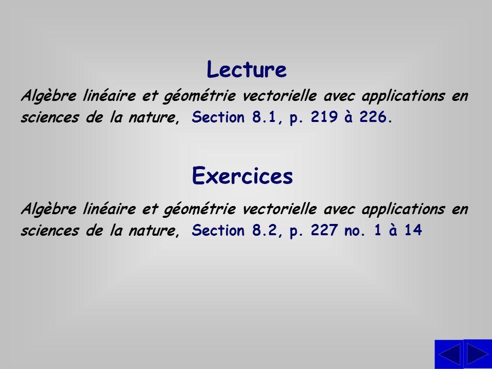 Lecture Algèbre linéaire et géométrie vectorielle avec applications en sciences de la nature, Section 8.1, p. 219 à 226.