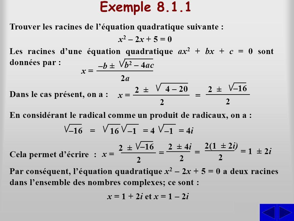 Exemple 8.1.1 Trouver les racines de l'équation quadratique suivante : x2 – 2x + 5 = 0.