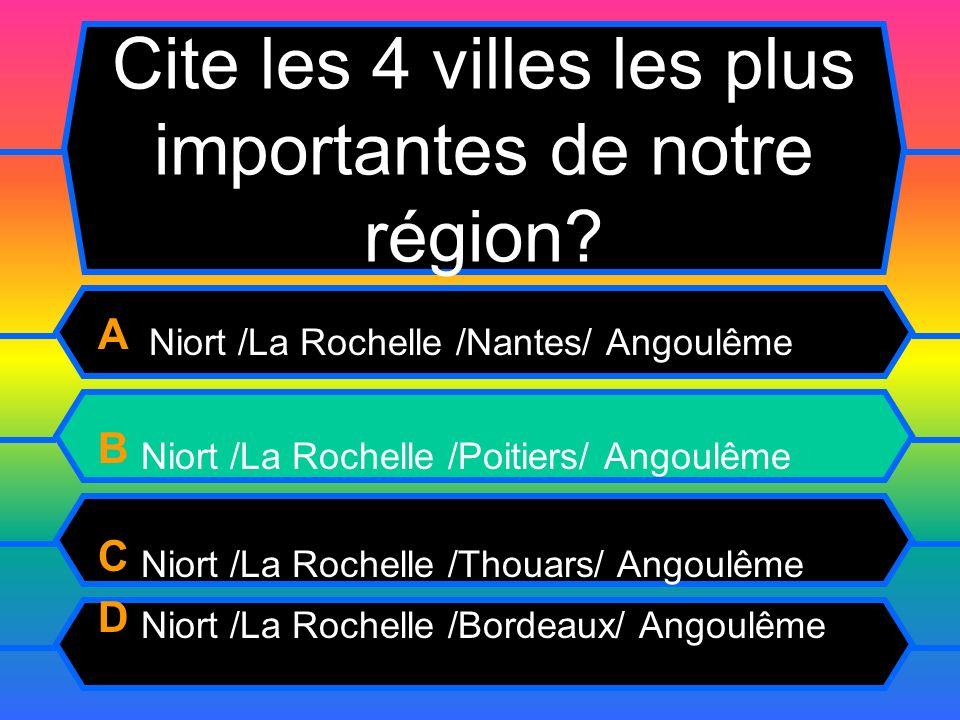 Cite les 4 villes les plus importantes de notre région