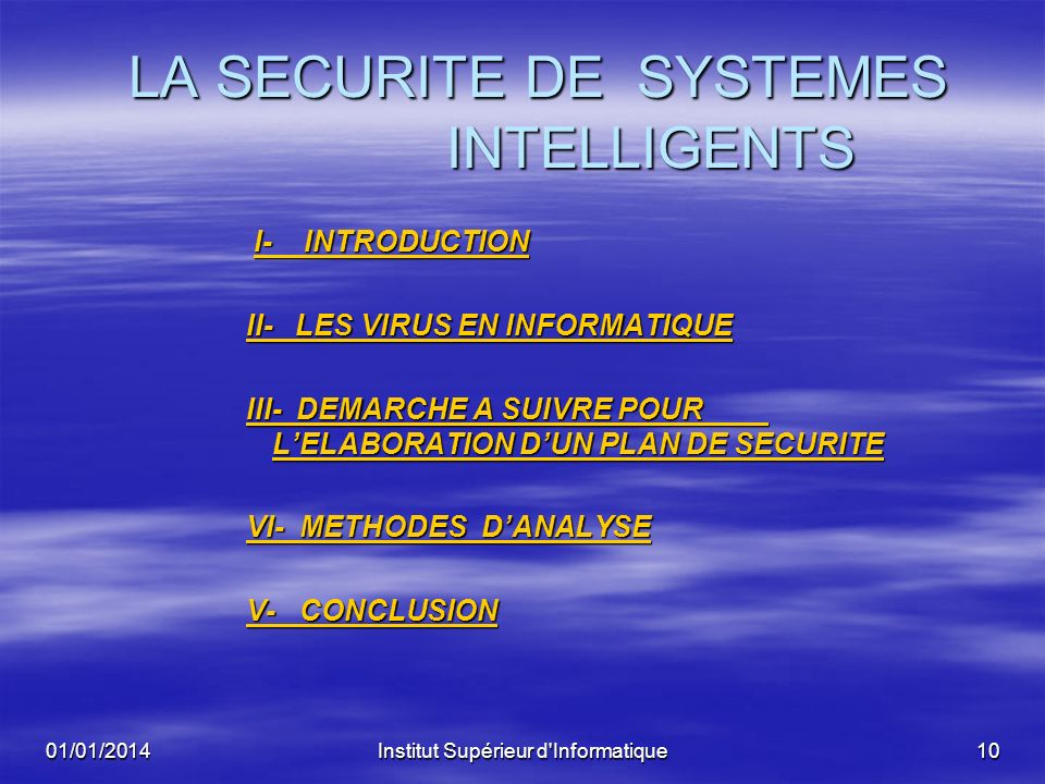 LA SECURITE DE SYSTEMES INTELLIGENTS