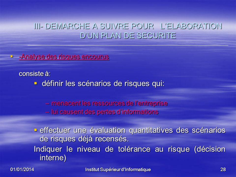 III- DEMARCHE A SUIVRE POUR L'ELABORATION D'UN PLAN DE SECURITE