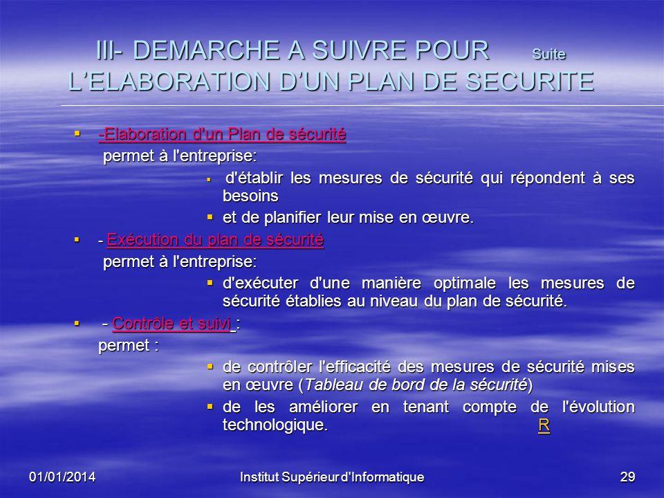 III- DEMARCHE A SUIVRE POUR Suite L'ELABORATION D'UN PLAN DE SECURITE