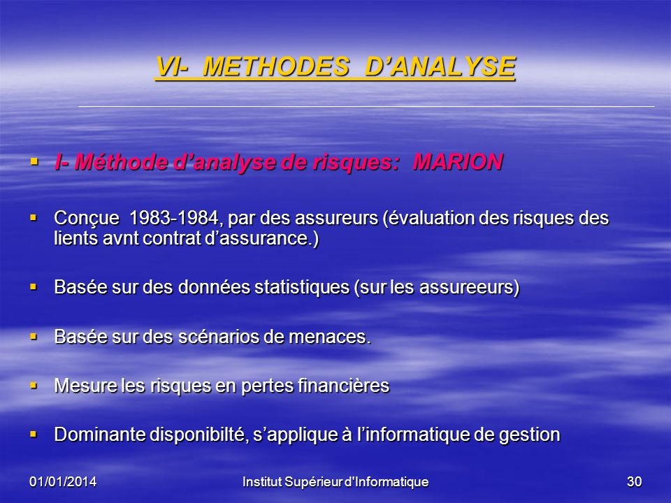 VI- METHODES D'ANALYSE