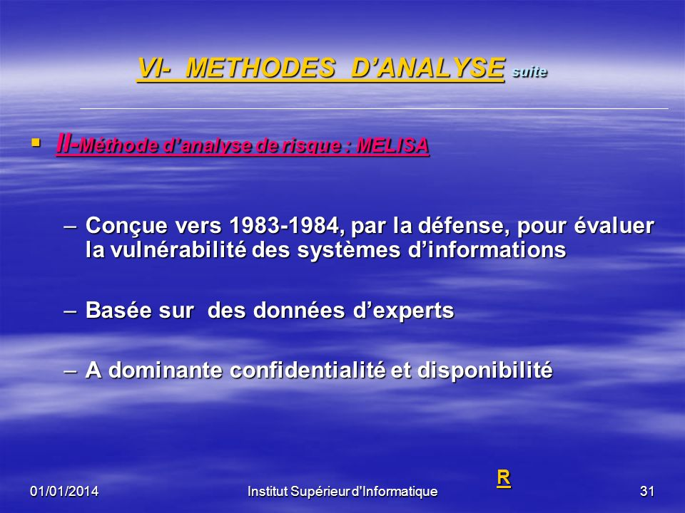 VI- METHODES D'ANALYSE suite