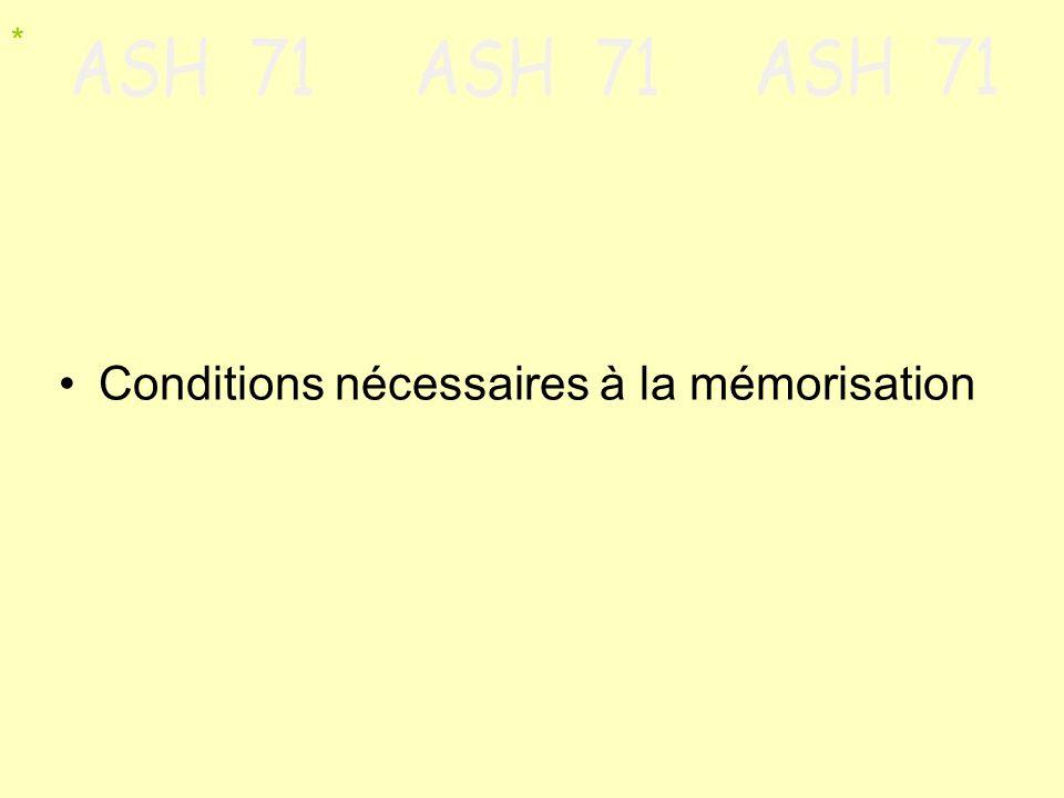 Conditions nécessaires à la mémorisation