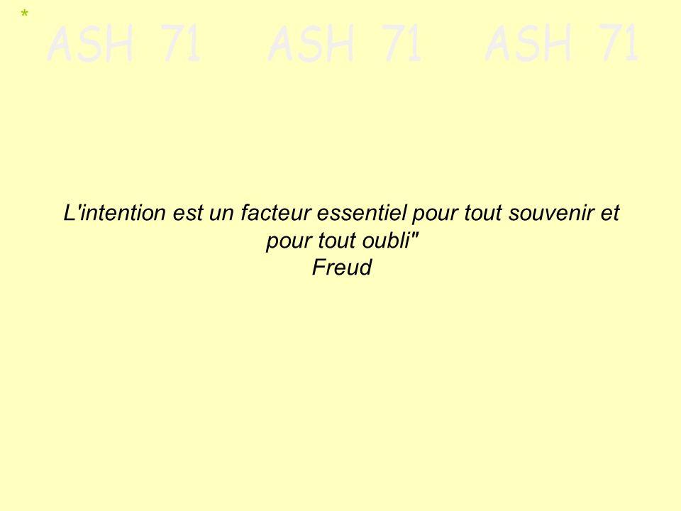 * L intention est un facteur essentiel pour tout souvenir et pour tout oubli Freud