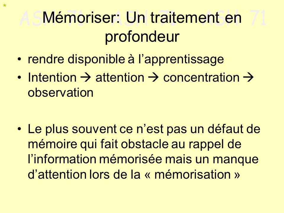 Mémoriser: Un traitement en profondeur