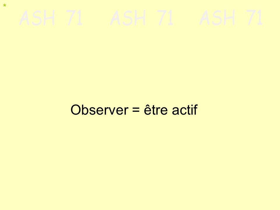* Observer = être actif