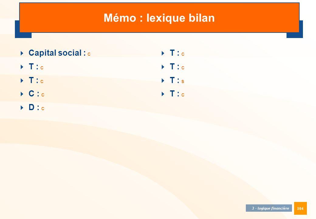 Mémo : lexique bilan Capital social : c T : c C : c D : c T : c T : c