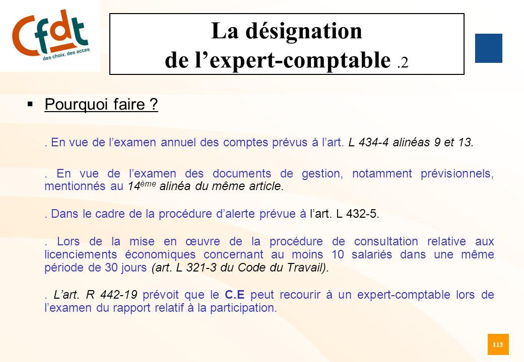 La désignation de l'expert-comptable .2
