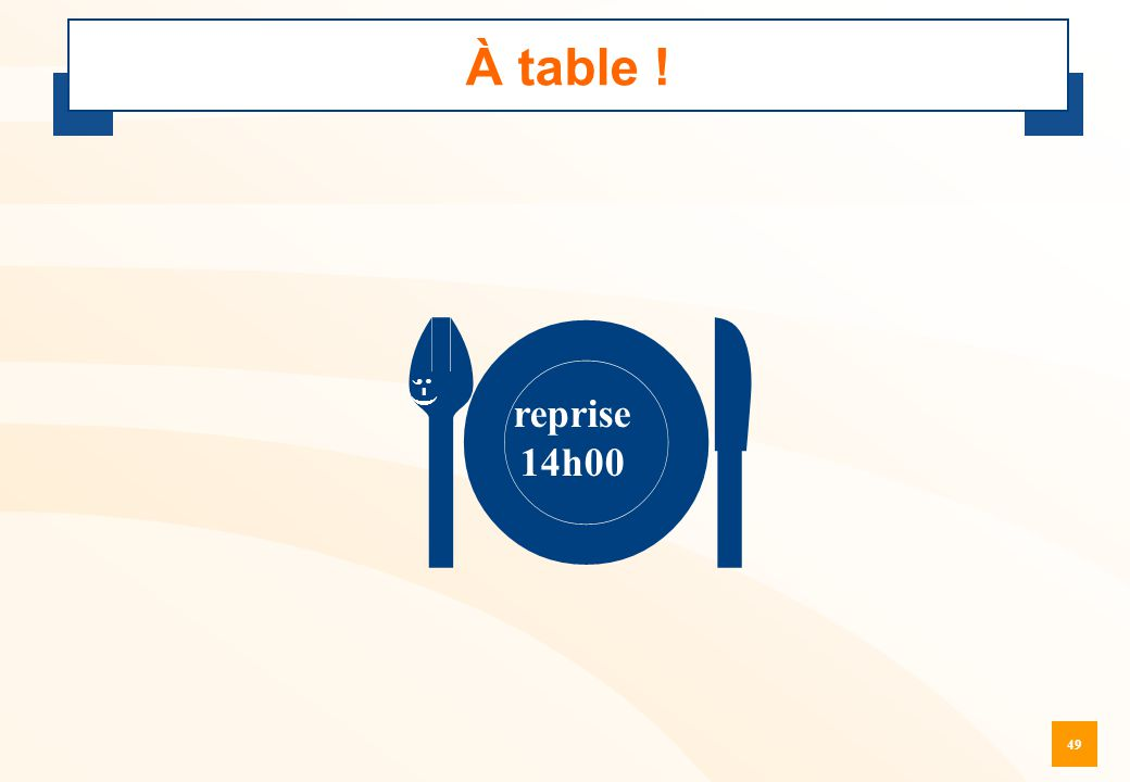 À table !  ;-) reprise 14h00