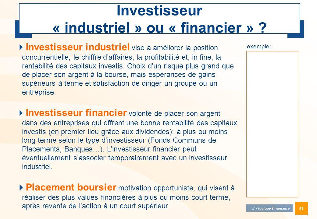 Investisseur « industriel » ou « financier »