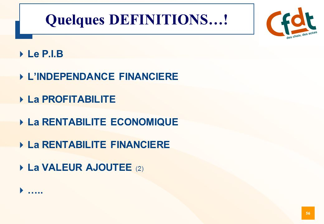 Quelques DEFINITIONS…!