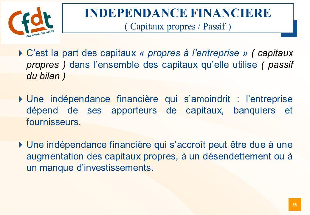 INDEPENDANCE FINANCIERE ( Capitaux propres / Passif )