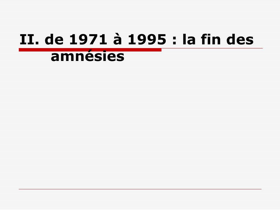 II. de 1971 à 1995 : la fin des amnésies