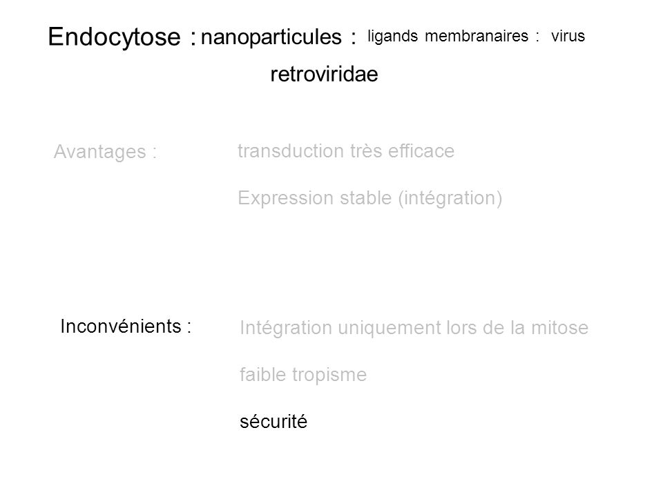 transduction très efficace Expression stable (intégration)