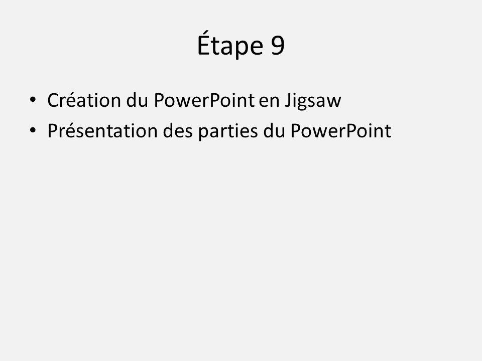 Étape 9 Création du PowerPoint en Jigsaw
