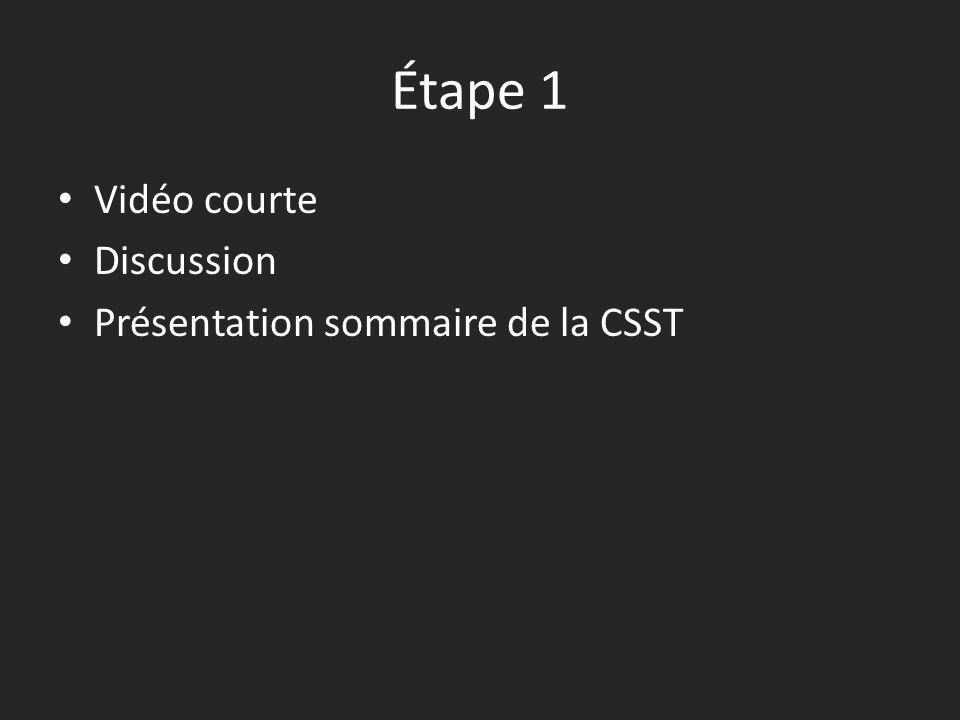 Étape 1 Vidéo courte Discussion Présentation sommaire de la CSST