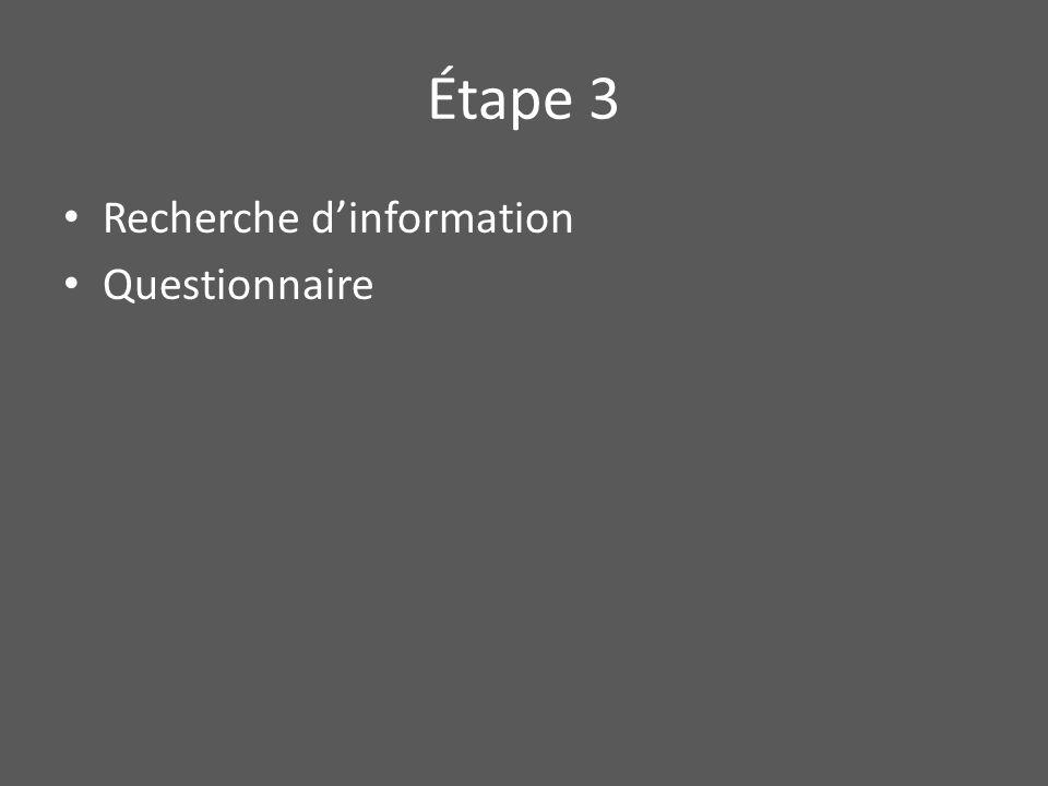 Étape 3 Recherche d'information Questionnaire