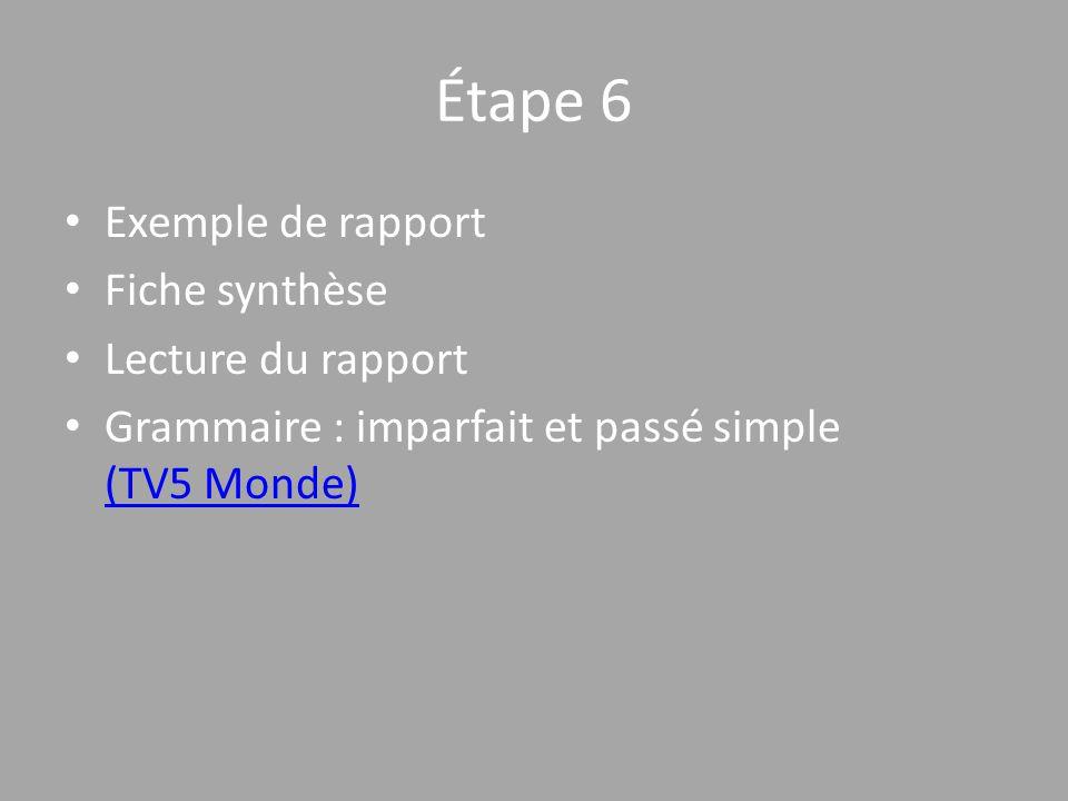 Étape 6 Exemple de rapport Fiche synthèse Lecture du rapport