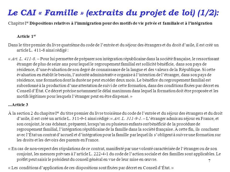 Le CAI « Famille » (extraits du projet de loi) (1/2):